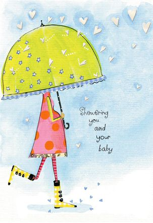 Pregnant Woman With Umbrella Baby Shower Card