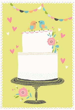 Lovebirds and Tiered Cake Blank Wedding Card