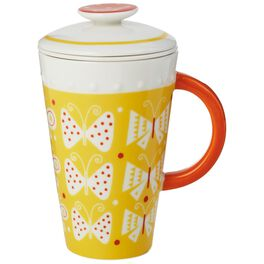 Yellow Ceramic Mug With Tea Infuser and Lid, 10 oz., , large
