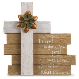 Trust in the Lord With All Your Heart Proverbs 3:15 Cross Plaque, , large