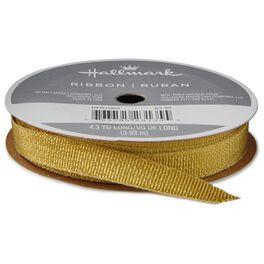 """Gold Metallic 3/8"""" Grosgrain Ribbon, 4.3 yards, , large"""
