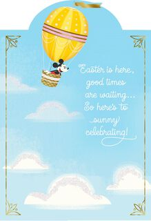Mickey Mouse in Balloon Easter Card,