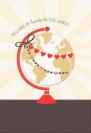 World Globe Romantic Valentine's Day Card