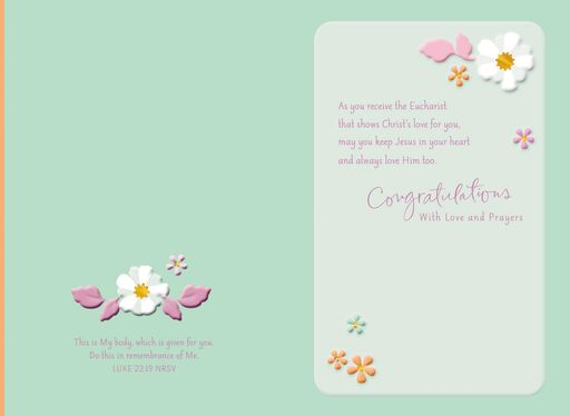 White Dress and Flowers First Communion Card for Niece,