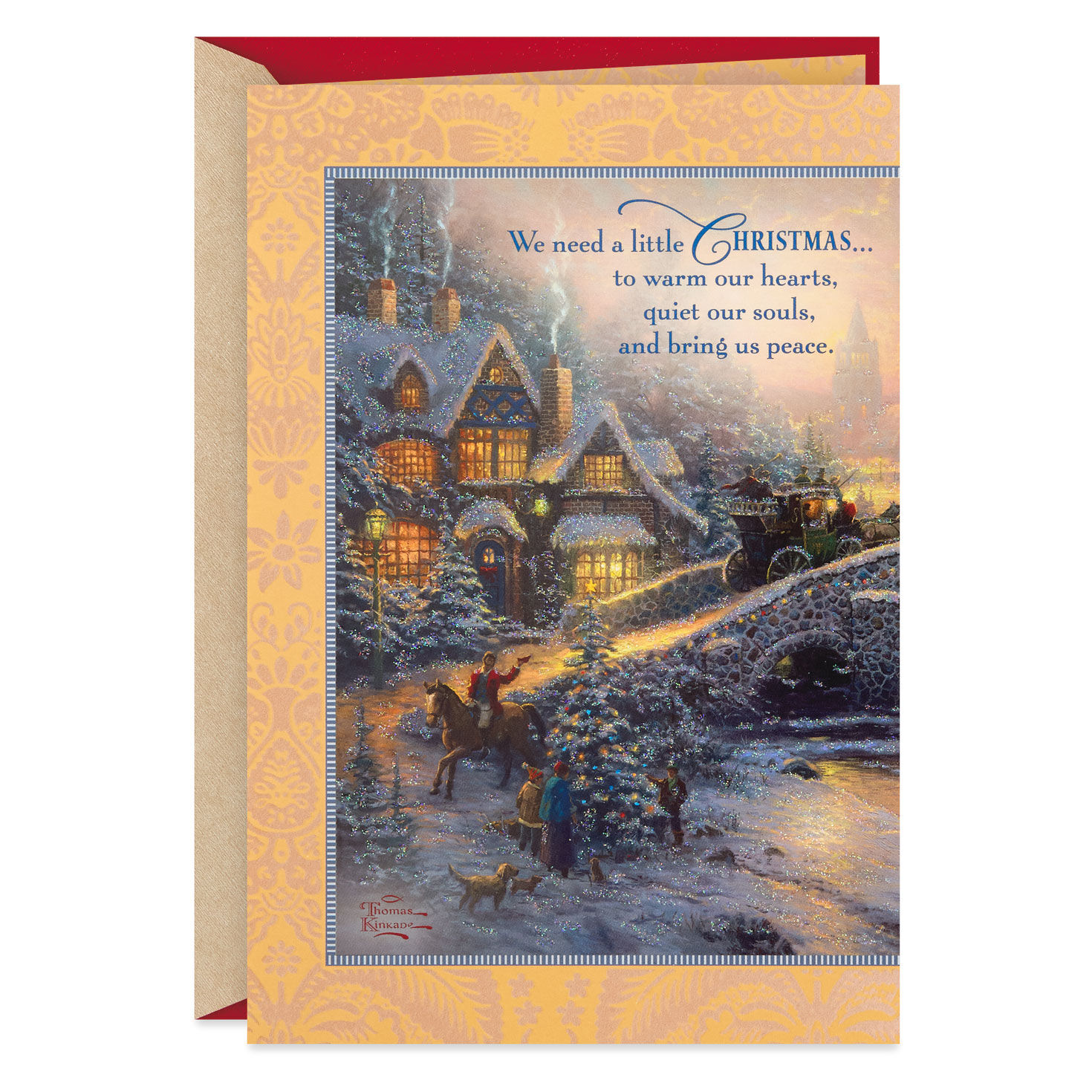 Village Christmas Thomas Kinkade Christmas Card with Message With Envelope