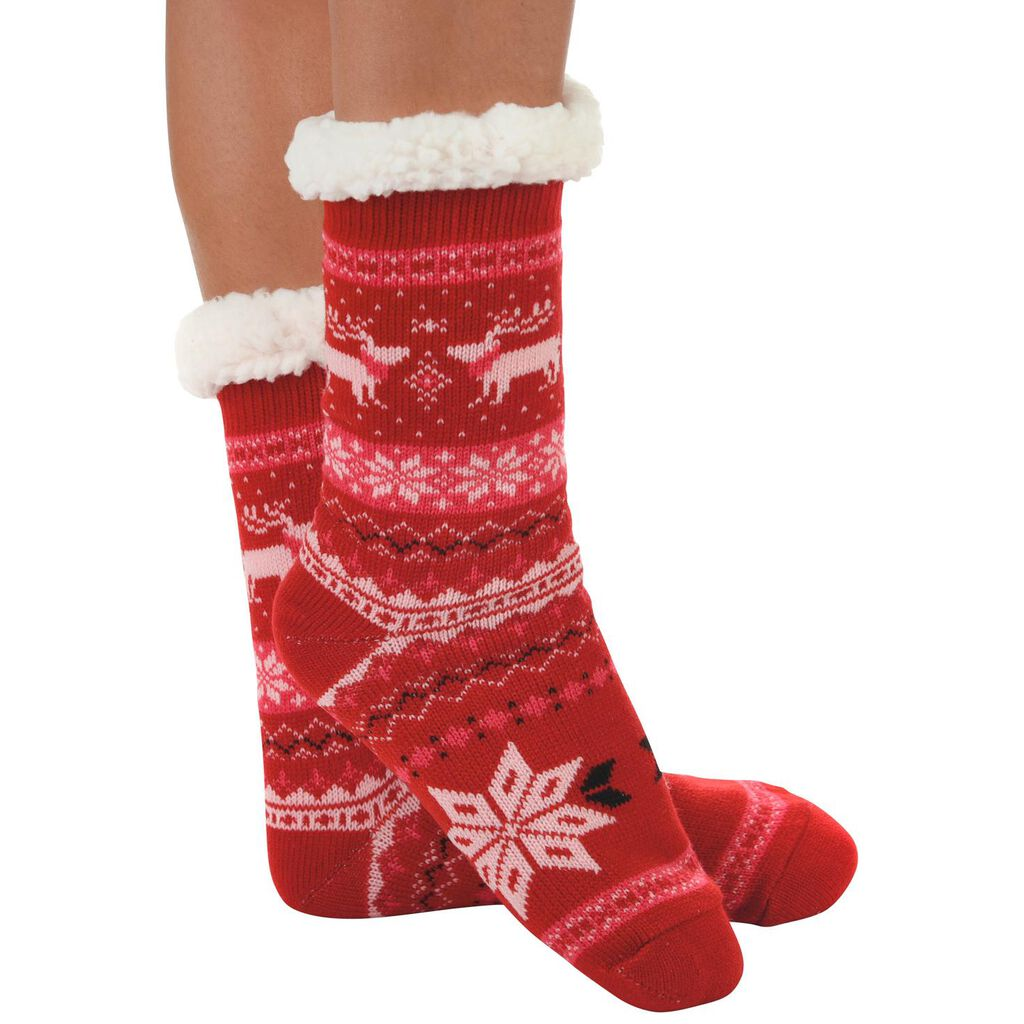 snoozies! Ladies Nordic Red Sherpa-Lined Knit Socks - Socks & Shoes ...