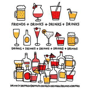 Friends + Drinks Birthday Card