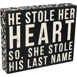 Primitives by Kathy Stole His Last Name Box Sign, , large