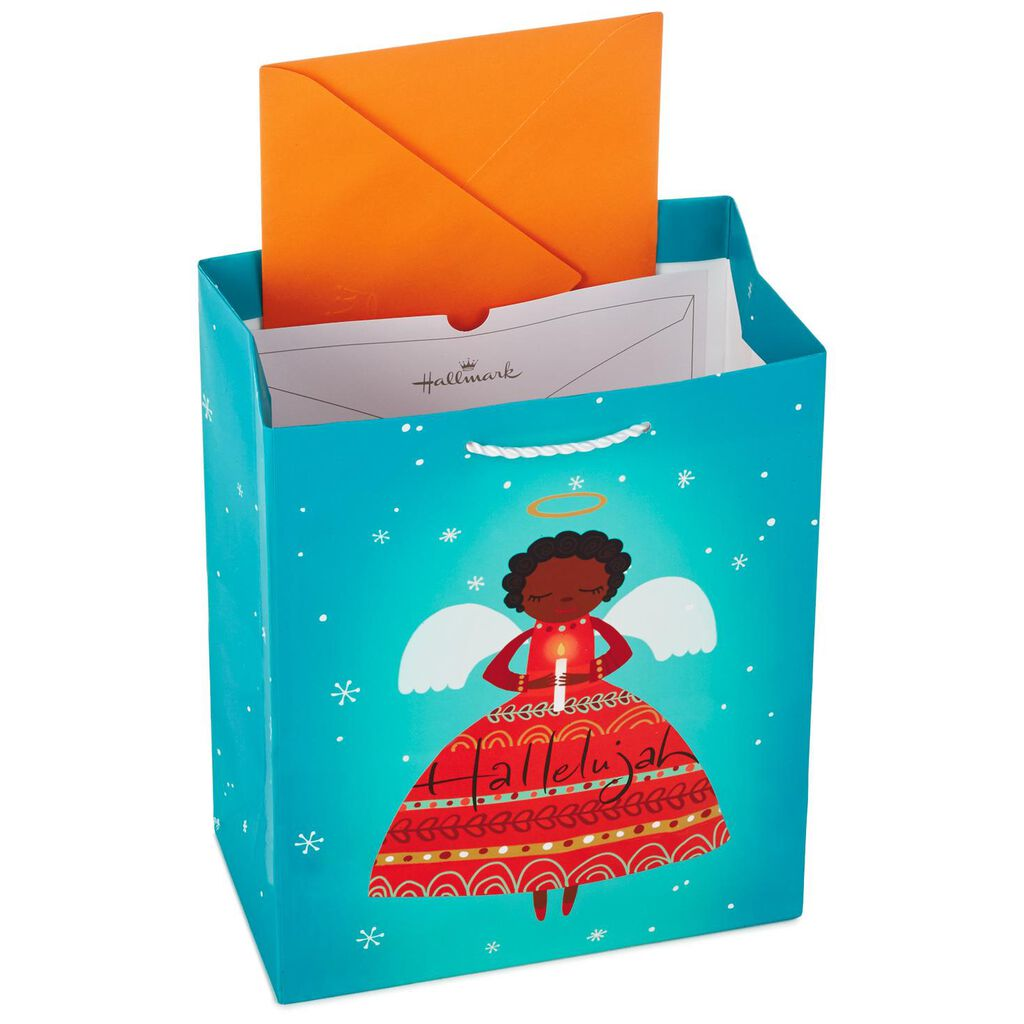 african-american angel medium christmas gift bag with tissue paper
