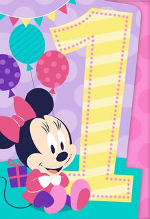Minnie Mouse Musical 1st Birthday Card,