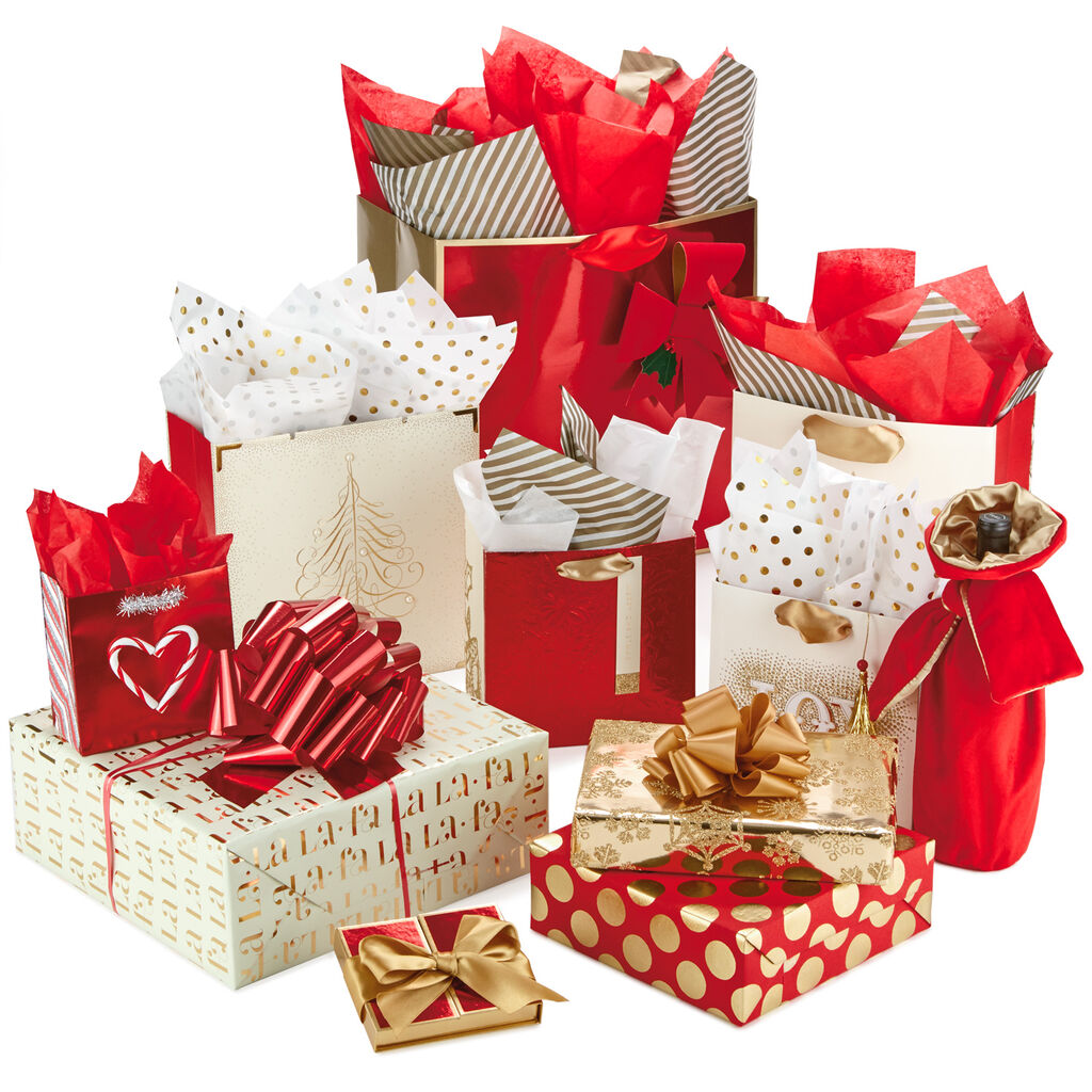 red and gold signature gift wrap collection gift bags hallmark