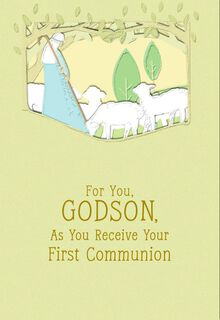Lamb of God First Communion Card for Godson,