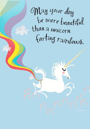 Farting Unicorn Funny Birthday Card