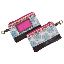 Natural Life Blue Floral Zip ID Case, , large