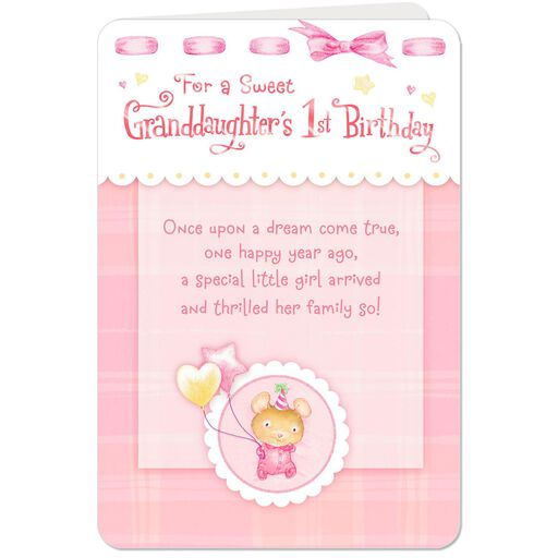 Dream Come True 1st Birthday Card For Granddaughter