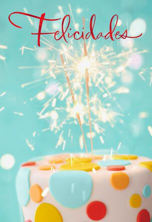 Sparkler Cupcake Spanish-Language Birthday Card