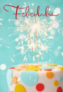 Sparkler Cupcake Spanish-Language Birthday Card,
