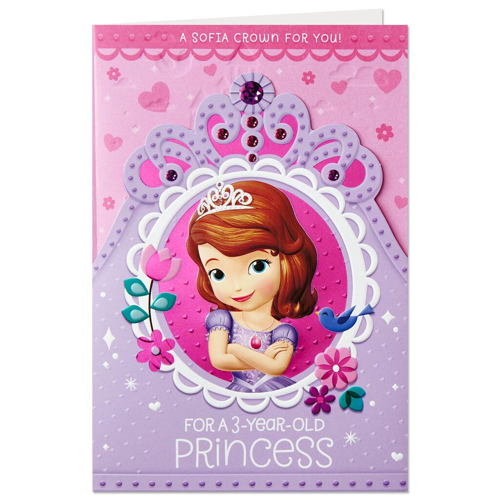 Sofia The First 3rd Birthday Card With Detachable Crown
