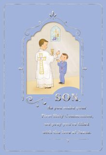 Minister and Boy First Communion Card for Son,