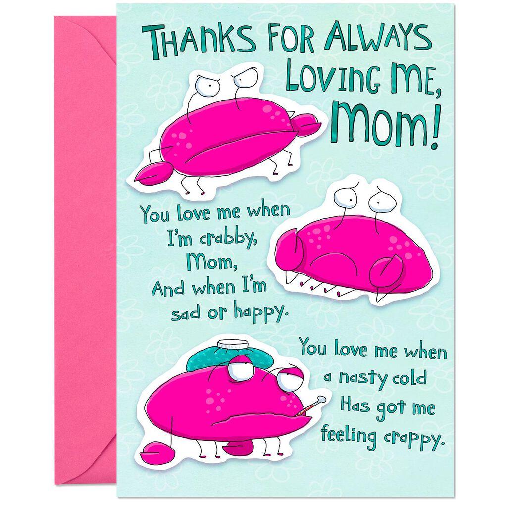 Cartoon Crabs Pop Up Funny Birthday Card For Mom