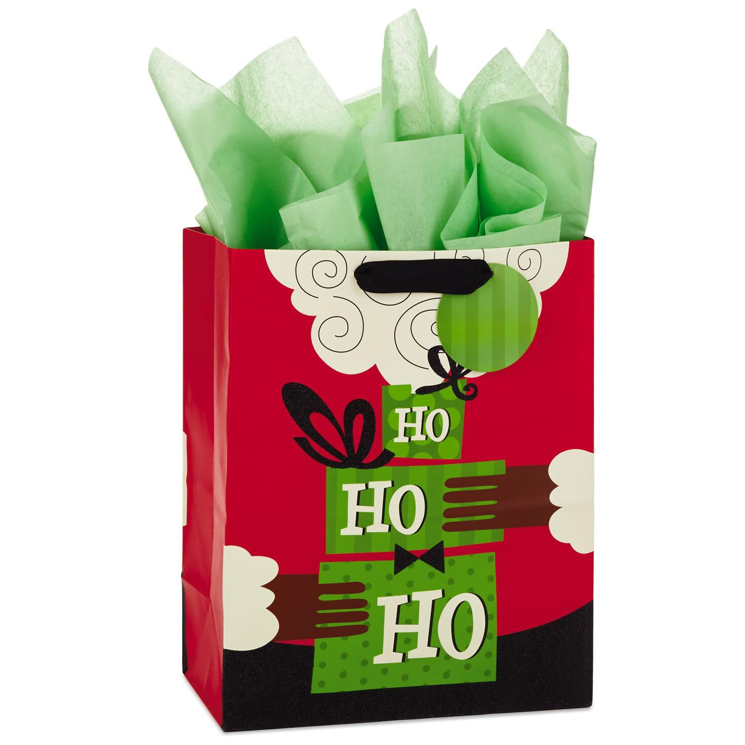 African-American Santa Large Christmas Gift Bag With Tissue Paper ...