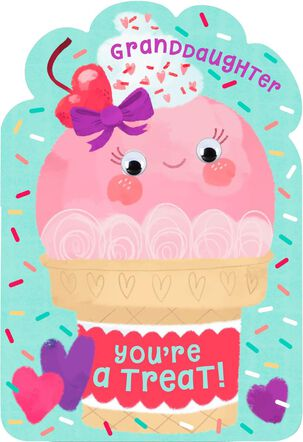 Ice Cream Cone You're a Treat Valentine's Day Card for Granddaughter
