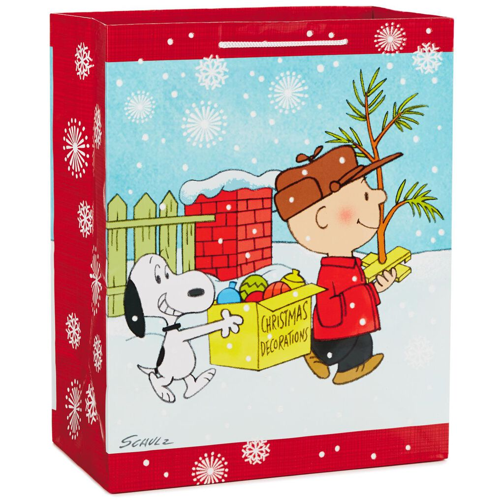 Peanuts® Charlie Brown and Snoopy Large Christmas Gift Bag, 13 ...