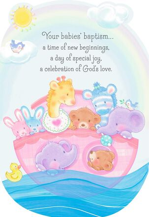 Noah's Ark Baptism Card for Multiples