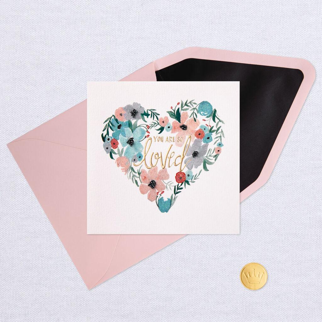 0bd32f694 Heart-Shaped Flower Wreath Blank Love Card - Greeting Cards - Hallmark
