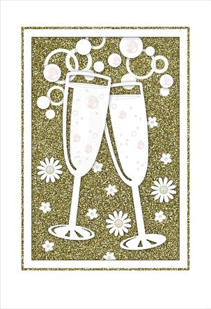 Champagne Toast Wedding Card
