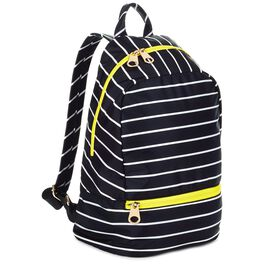 Mark & Hall Black and White Stripe Nylon Backpack, , large