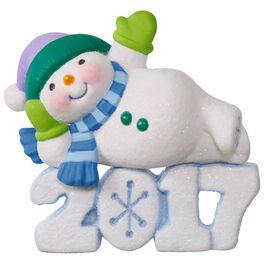 Frosty Fun Decade Lounging Snowman Ornament, , large