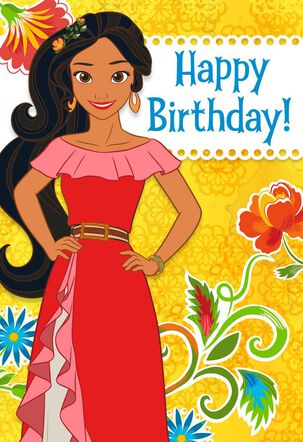 Disney Elena of Avalor Flowers Birthday Card