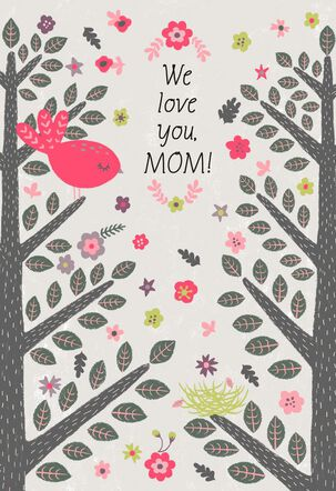 Bird on Tree Branch Sketch Mother's Day Card from Us