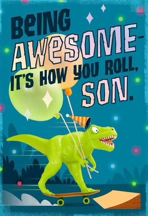 Party Dinosaur You're Awesome Birthday Card for Son