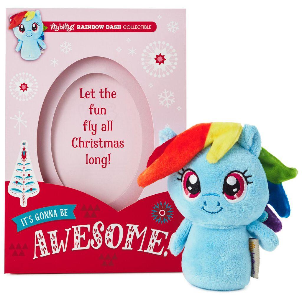 My Little Pony Christmas.Itty Bittys My Little Pony Rainbow Dash Christmas Card With Stuffed Animal