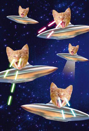 Laser-Eyed Kitties Birthday Card