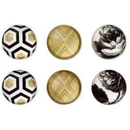 Classic Rose and Geometric Glass Magnets, Set of 6, , large