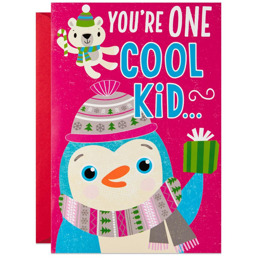 Penguin Hugging Musical Christmas Card For Child Greeting Cards