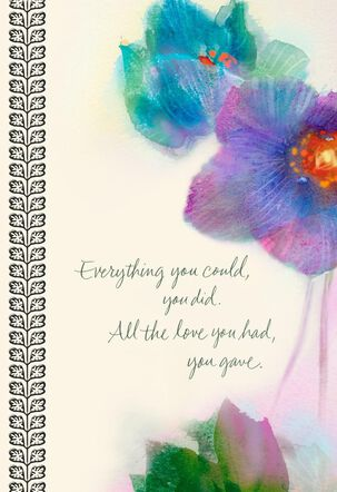 Watercolor Flowers Sympathy Card for Caregiver
