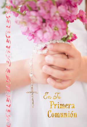 Flowers and Rosary Religious Spanish-Language First Communion Card
