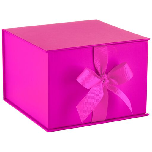 Hot Pink Large Gift Box With Shredded Paper Filler, ...