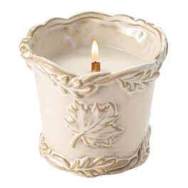 Fall Treats Ceramic Leaf-Designed Candle by WoodWick®, , large