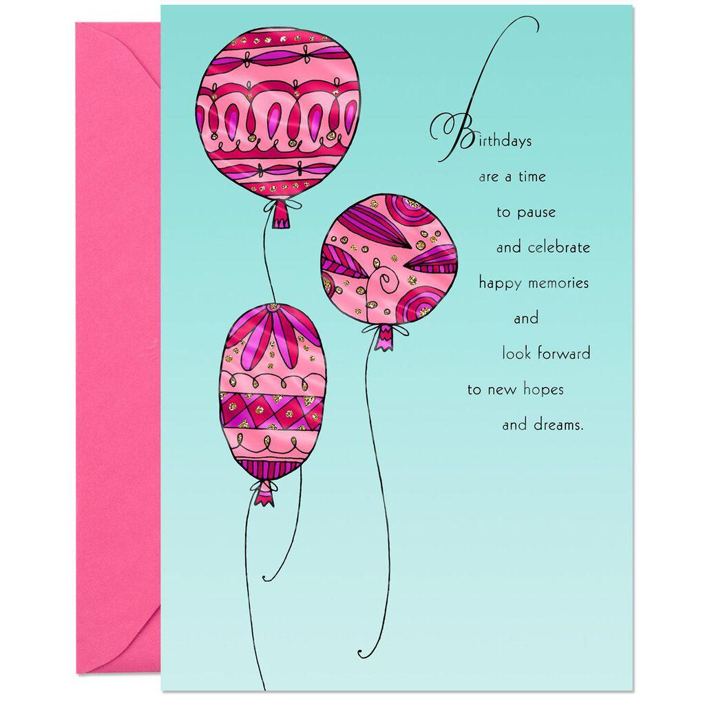 Pink Balloons New Hopes And Dreams Birthday Card