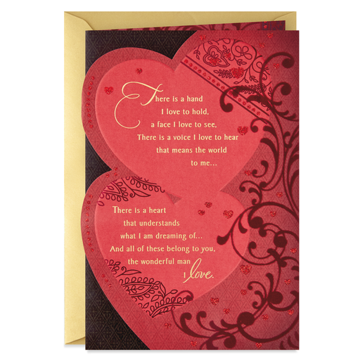 Two Hearts With Lace Valentines Day Card For Husband