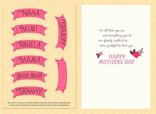 Grateful for You Personalized Mother's Day Card for Grandma,