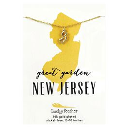 State of New Jersey Necklace in 14k Yellow Gold-Plate, , large
