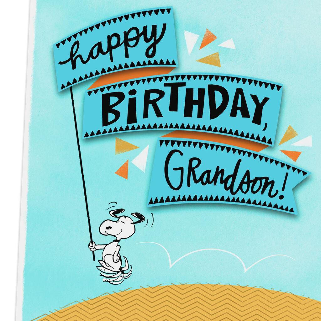 PeanutsR Snoopy All Happy Birthday Card For Grandson