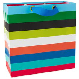 "Multicolor Horizontal Stripes Large Square Bag, 10.25"", , large"