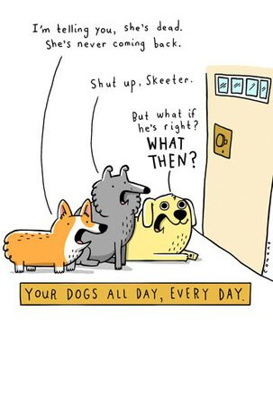 Dogs Waiting at Door Funny Blank Card